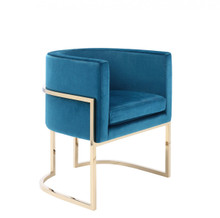 Modrest Betsy Modern Blue Velvet & Gold Dining Chair