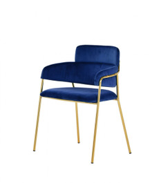 Modrest Tessa Modern Blue Velvet & Gold Dining Chair