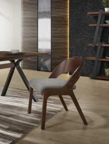 Modrest Runyon Modern Walnut & Grey Fabric Dining Chair