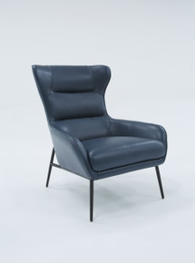 Divani Casa Susan Modern Blue Leatherette Lounge Chair