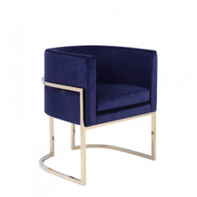 Modrest Betsy Modern Navy Blue Velvet & Gold Dining Chair