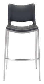 Ace Bar Chair Black & Brushed Stainless Steel - Set of 4