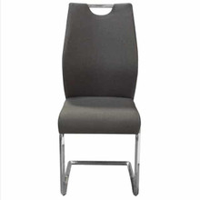 London Dining Chairs Gray Fabric With Chrome Base
