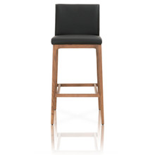 Alex Sable Top Grain Leather Walnut Barstool