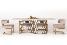 Modrest Faye Modern White Concrete & Antique Brass Dining Table