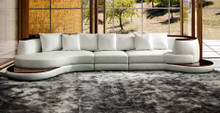 Rodus Rounded Corner Leather Sectional Sofa With Wood Trim