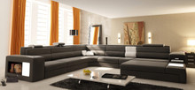 Polaris Contemporary Bonded Leather Sectional Sofa with Lights