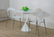 Twist White Lacquer Round Dining Table