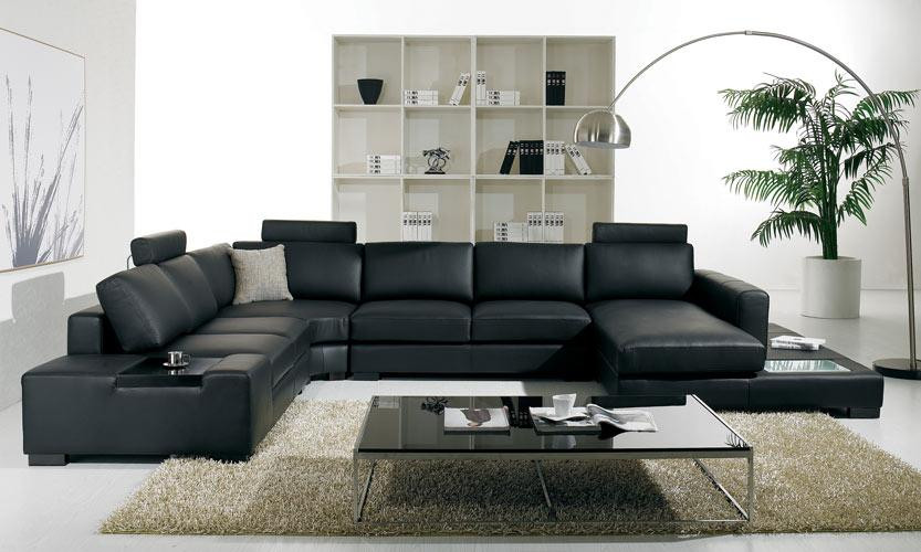 T35 Modern Leather Black Sectional Sofa - Stylish Design Furniture