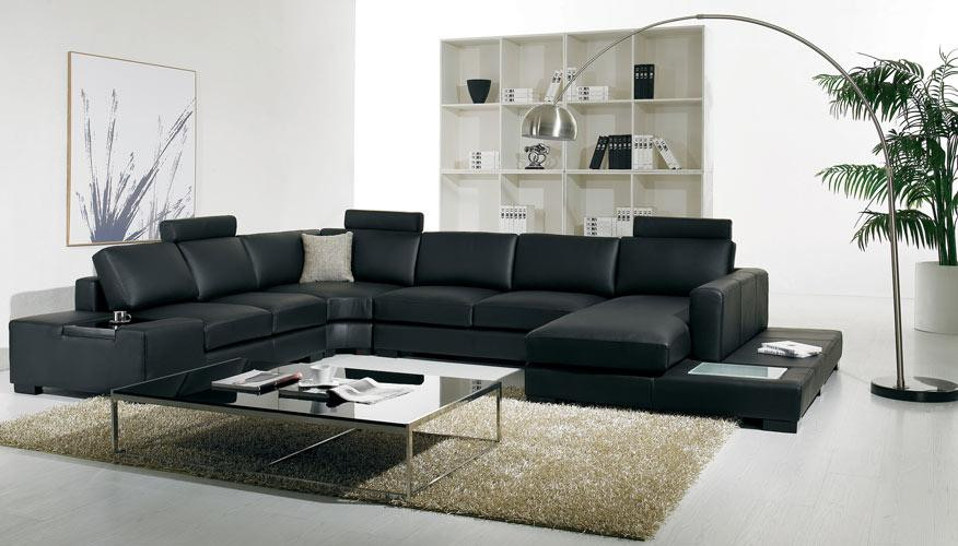 T35 Modern Leather Black Sectional Sofa