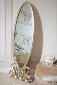 Ravenna Transitional Gold Oval Floor Mirror