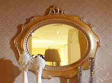Ravenna Transitional Gold Oval Wall Mirror