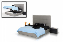 Modrest Messina Modern Grey Eco Leather Bed with Lift Storage
