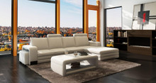 3131 Modern White Leather Sectional Sofa w Ottoman Coffee Table