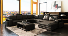 Divani Casa 3130 Modern Black Leather Sectional Sofa w Coffee Table