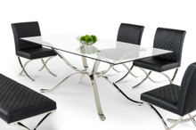 Modrest Adderley Modern Stainless Steel w Glass Top Dining Table