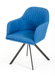 Modrest Synergy Modern Blue Fabric Dining Arm Chair