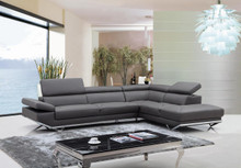 Divani Casa Quebec Modern Dark Grey Eco-Leather Sectional Sofa