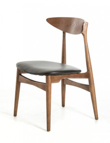 Modrest Anson Modern Walnut and Black Dining Chair
