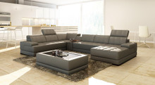 Divani Casa 5105 Modern Bonded Leather Sectional Sofa w Audio System