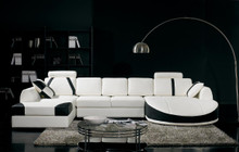 Divani Casa T57 Modern White and Black Eco-Leather Sectional Sofa