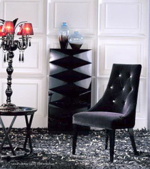 A&X Charlotte Black Velour Dining Chair