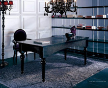 A&X Ambassador Transitional Black Crocodile Lacquer Office Desk