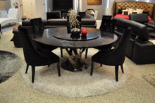 A&X Spiral - Round Black Crocodile Lacquer Table w Lazy Susan