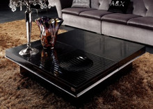 A&X Horizon Modern Crocodile Black Coffee Table with Pull Out Squares