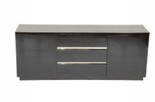 A&X Skyline Modern Black Crocodile Lacquer Buffet