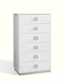A&X Victoria - Modern White Crocodile Lacquer 6-Drawer Chest