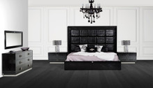 A&X Victoria Modern Black Crocodile Bedroom Set