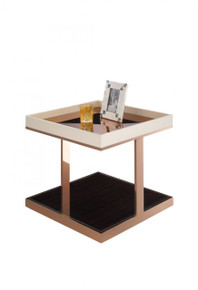A&X Padua Modern Small Champagne & Rosegold End Table