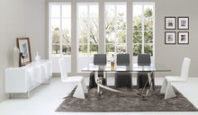Modrest Adelaide Modern Stainless Steel & Glass Dining Table