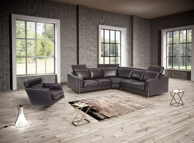 Estro Ethan Amp Emory Modern Black Leather Sectional Amp Chair