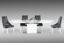 A&X Centro - White High Gloss Dining Table with Extension