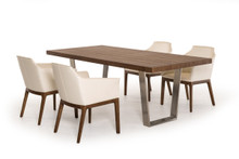 Modrest Byron Modern Walnut & Stainless Steel Dining Table