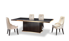 A&X Talin Modern Black Crocodile & Rosegold Dining Table