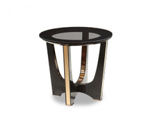 A&X Talin Modern Black Crocodile & Rosegold End Table
