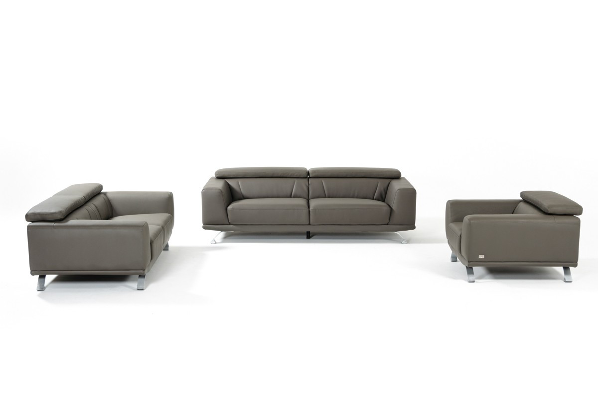 Divani Casa Brustle Modern Dark Grey Eco-Leather Sofa Set - Stylish ...