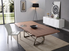 Modrest Addy Modern Walnut & Stainless Steel Dining Table