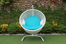Doheny Outdoor White & Aqua Blue Hanging Chair