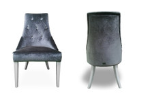 Charlotte - Grey Velour & White High Gloss Dining Chair