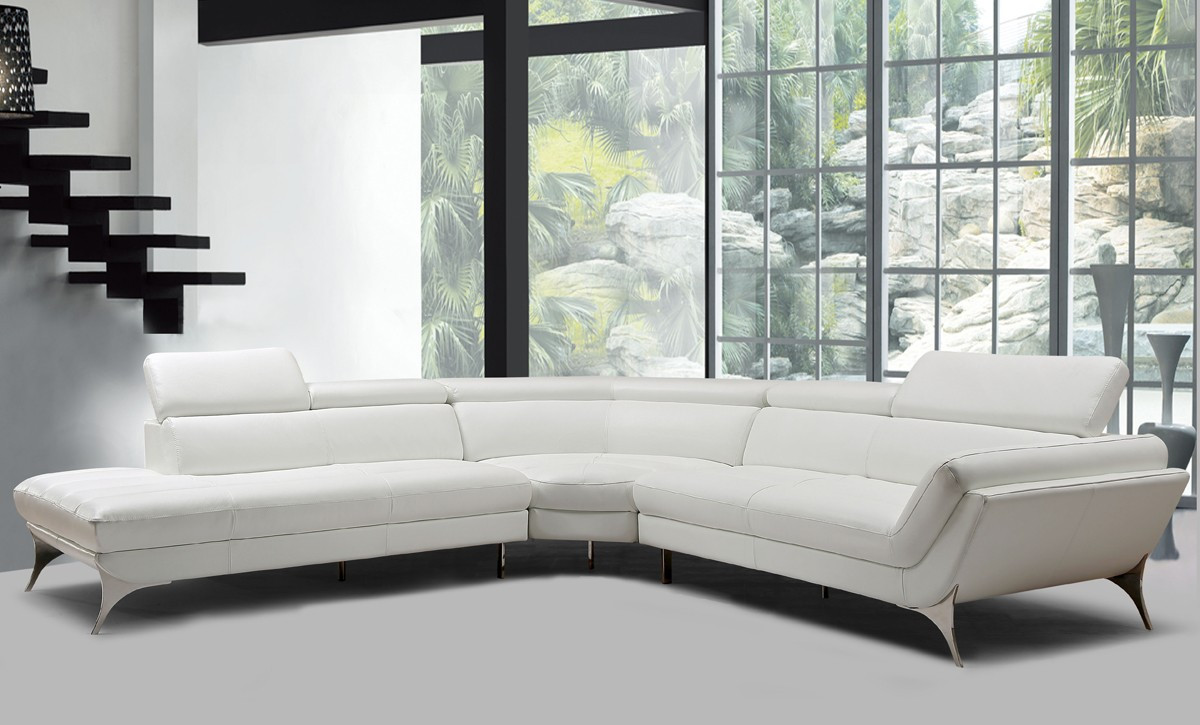 Divani Casa Graphite Modern White Leather Sectional Sofa - Stylish ...