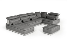 David Ferrari Panorama Italian Grey Fabric & Grey Leather Sectional
