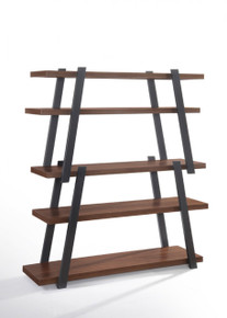 Modrest Tobias Modern Walnut & Grey Bookshelf