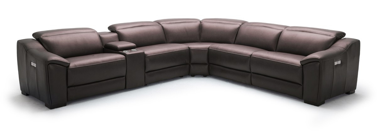 Divani Casa Gentry Modern Grey Eco Leather Sectional Sofa Recliners