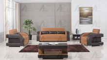 AE-D816 Camel and Dark Brown Faux Leather Sofa Set