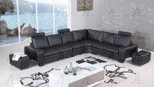 AE-L213 Black Faux Leather Sectional