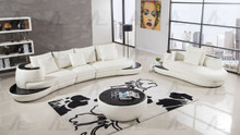 AE-L222 Ivory Faux Leather Sectional
